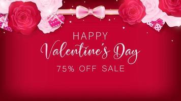 San Valentino banner sfondo rosso vettore