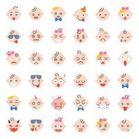Set di icone faccia bambino vettore