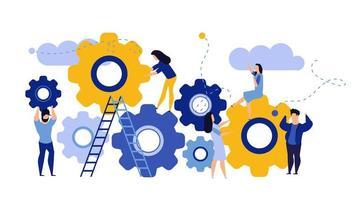 Organizzazione aziendale uomo e donna con ingranaggi a cerchio