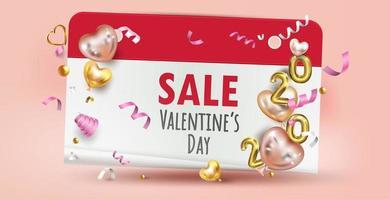 Etichetta di vendita felice giorno di San Valentino con palloncini e coriandoli