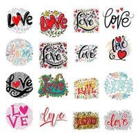 Set di carte d'amore pennello calligrafia vettore