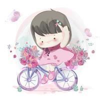 Bicicletta di guida della bambina disegnata a mano vettore