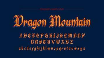 Fonte artistica arancione di calligrafia antica medievale vecchia
