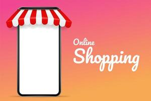 Manifesto di acquisto online con il telefono cellulare in bianco con un tetto
