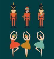 Set natalizio di schiaccianoci e ballerine.