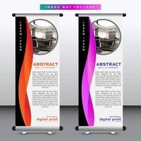 banner verticale roll up con design ondulato rosso e viola vettore