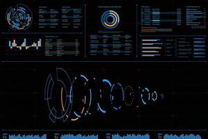 Dashboard dati futuristico con design a spirale