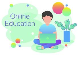 Una lettura dell'uomo per il concetto online di istruzione - illustrazione piana moderna di vettore