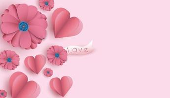 Sfondo di San Valentino con fiori e cuori tagliati di carta vettore