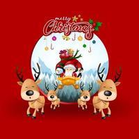 Biglietto di auguri di Natale, con Babbo Natale, cervi, pupazzo di neve e pinguino