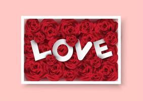 Scatola di rose di San Valentino con testo Love all'interno vettore