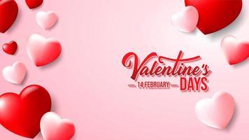 San Valentino Love Design con cuori rosa e rossi vettore