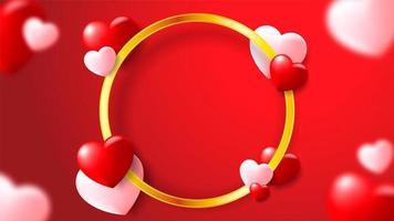 Sfondo romantico rosso con cuori e cornice dorata circolare vettore