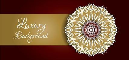 Mandala Design dorato e bianco su fondo rosso vettore