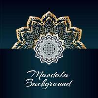 Mandala Design di lusso dorato e bianco con spazio di copia vettore