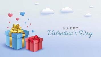 Progettazione dell'insegna di San Valentino con i contenitori di regalo su fondo blu molle vettore