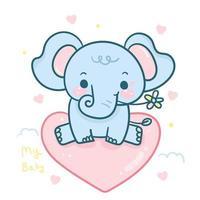 Fumetto dell'elefante di bambino con il fiore che si siede sul pallone di amore