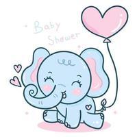 Cartone animato di elefante kawaii con palloncino cuore per San Valentino
