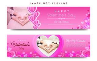 Set di banner web di San Valentino vettore