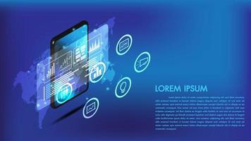 Smart phone isometrico o interfaccia tablet 3d vettore