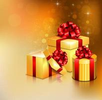 Varie scatole regalo aperto d'oro con fiocco rosso e nastro vettore