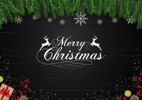 Sfondo di Natale in legno con rami di abete e fiocchi di neve
