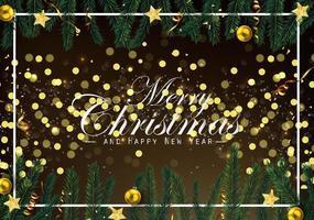 Sfondo di Natale con rami di abete e ornamenti d'oro