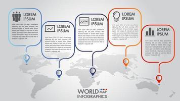 Opzioni di infographics 4 della mappa di mondo