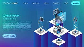 Il concetto di comunicazione di social media di realtà virtuale con tecnologia connect vettore