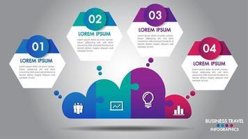 Cloud design business infographics 4 passaggi opzioni vettore