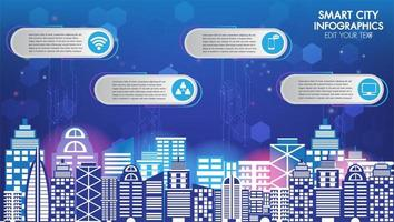 infografica tecnologia smart city vettore