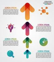 Vector il modello di infographics di cronologia di 4 punti delle frecce per gradi