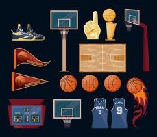 Set di elementi sportivi di basket vettore