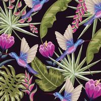 colibrì con sfondo di fiori e foglie