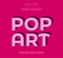 Effetto carattere modificabile del testo pop art vettore