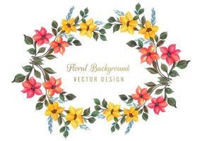 Design decorativo colorato cornice floreale vettore