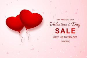 Vendita di San Valentino con cuori palloncino e coriandoli card design vettore