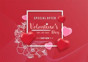 Fondo di vendita di San Valentino con l'illustrazione del modello e del fiore del cuore dei palloni
