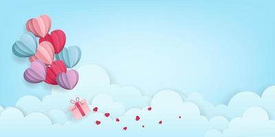 Palloncini cuore di San Valentino che trasportano regalo sullo sfondo del cielo vettore