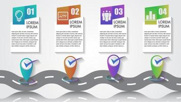 Infografica aziendale con 4 icone di passaggio e tappe fondamentali dell'azienda vettore