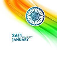 Festa della Repubblica indiana il 26 gennaio con sfondo onda bandiera