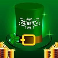 Cappello del leprechaun del giorno di San Patrizio e pila di monete dorate vettore