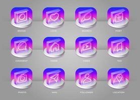 Social media trasparente con set di icone colorate gradiente 3D