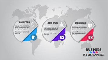 Cronologia di affari infografica con 3 opzioni di cerchio, mappa del mondo