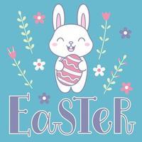 Cartolina di Pasqua con un simpatico coniglietto, fiori e scritte di Pasqua vettore