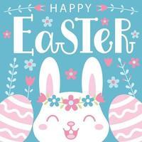 Cartolina di Pasqua con un simpatico coniglietto, uova fantasia e scritte. vettore