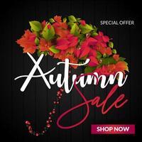 Vendita autunno con l'ombrello di foglie