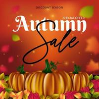 Modello di volantino vendita autunno con zucche e foglie vettore