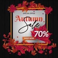 banner di vendita autunno con foglie di autunno, cornice dorata e copyspace bianco