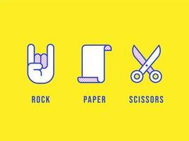 Linea icone di forbici di carta di roccia vettore